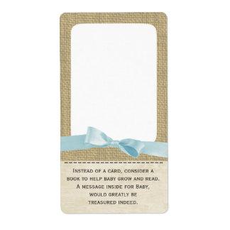 Etiquetas de la arpillera y del libro de azules ci etiqueta de envío
