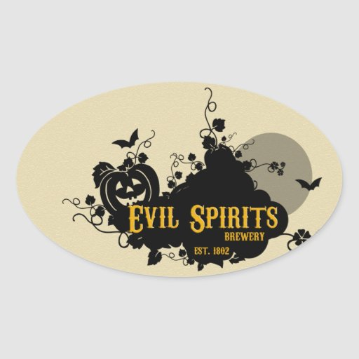 Etiquetas de la bebida de espíritus malignos colcomanias oval