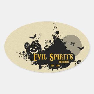 Etiquetas de la bebida de espíritus malignos pegatina ovalada