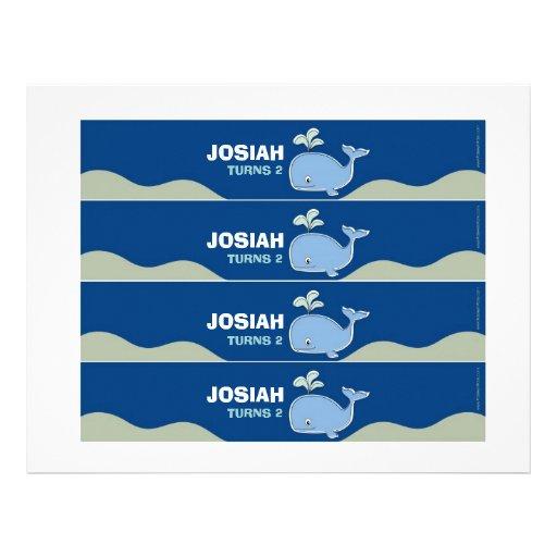 Etiquetas de la botella de agua de la ballena azul plantillas de membrete