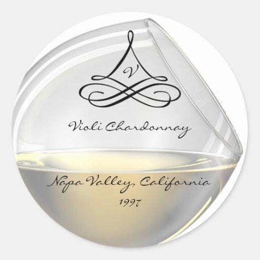 Etiquetas de la botella de vino del vino blanco pegatinas redondas