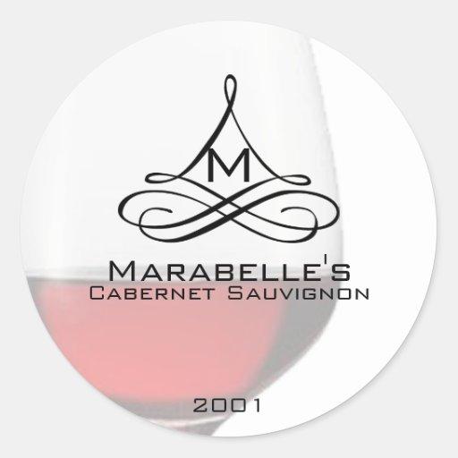 Etiquetas de la botella de vino del vino rojo etiquetas redondas