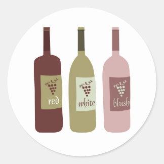 Etiquetas de la botella de vino pegatina redonda