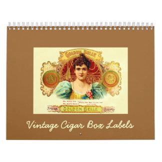 Etiquetas de la caja de cigarros del vintage calendarios