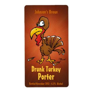 Etiquetas de la cerveza de Homebew con Turquía div Etiqueta De Envío