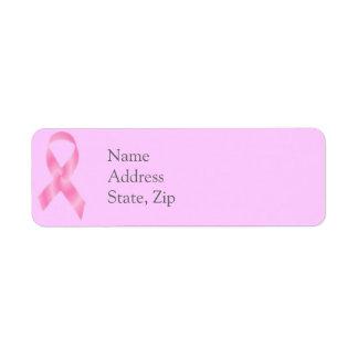 Etiquetas de la cinta del rosa del cáncer de pecho etiqueta de remite