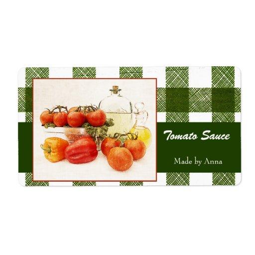 Etiquetas de la comida de la salsa de tomate etiqueta de envío