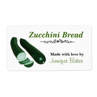Etiquetas de la comida del calabacín etiqueta de envío