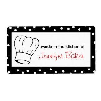 Etiquetas de la comida del gorra del cocinero etiquetas de envío