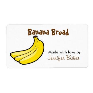 Etiquetas de la comida del plátano etiqueta de envío