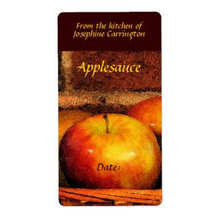 Etiquetas de la compota de manzanas etiquetas de envío