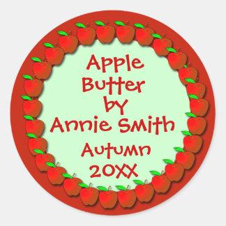 Etiquetas de la compota de manzanas o de la pegatina redonda
