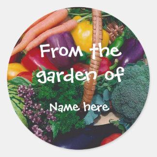 Etiquetas de la cosecha del jardín pegatina redonda