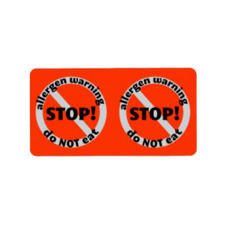 Etiquetas de la despensa - la advertencia del etiqueta de dirección