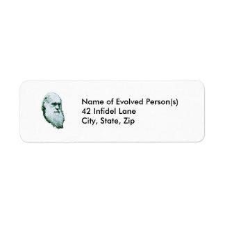 Etiquetas de la dirección principales de Darwin Etiqueta De Remite