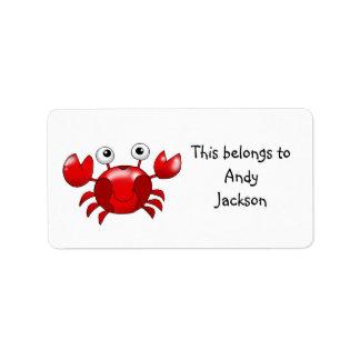 Etiquetas de la escuela (cangrejo rojo) etiqueta de dirección