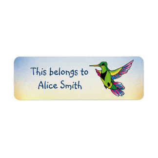 Etiquetas de la escuela con el pequeño colibrí etiquetas de remite