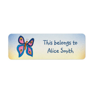 Etiquetas de la escuela con la mariposa etiqueta de remite