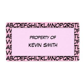 Etiquetas de la escuela del alfabeto etiquetas de envío