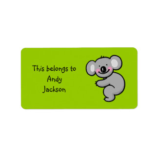 Etiquetas de la escuela (oso de koala) etiqueta de dirección