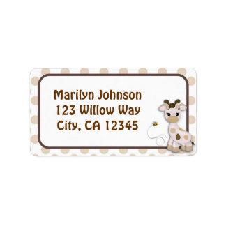 Etiquetas de la etiqueta de dirección de la jirafa