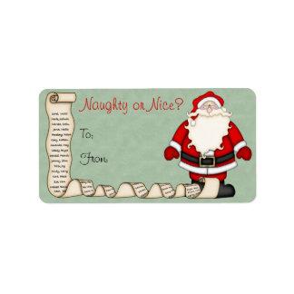 Etiquetas de la etiqueta del regalo del navidad de etiqueta de dirección