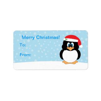 Etiquetas de la etiqueta del regalo del pingüino d etiqueta de dirección