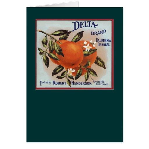 Etiquetas de la fruta de los naranjas de la marca tarjeta de felicitación