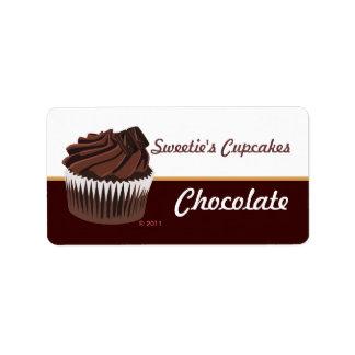 Etiquetas de la magdalena del chocolate etiquetas de dirección