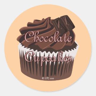 Etiquetas de la magdalena del chocolate pegatina redonda