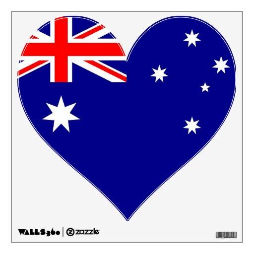 Etiquetas de la pared con la bandera de Australia