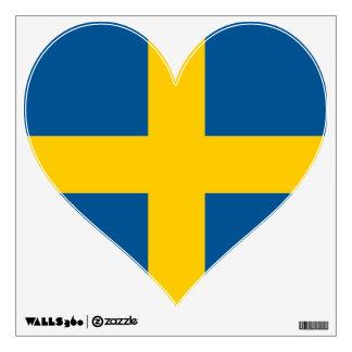 Etiquetas de la pared con la bandera de Suecia Vinilo