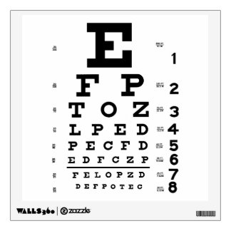 Etiquetas de la pared de la carta de ojo del vinilo decorativo