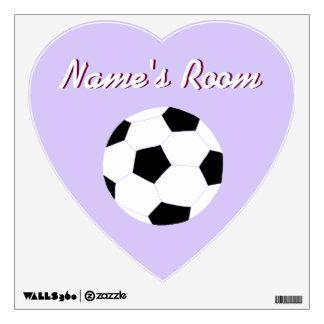 Etiquetas de la pared del fútbol: Fútbol púrpura Vinilo