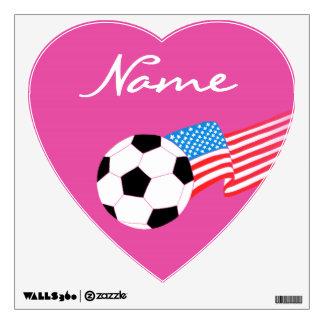 Etiquetas de la pared del fútbol: Magenta Vinilo Decorativo