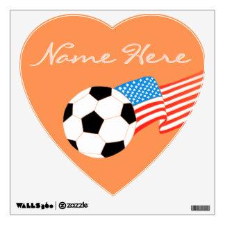 Etiquetas de la pared del fútbol: Naranja Vinilo