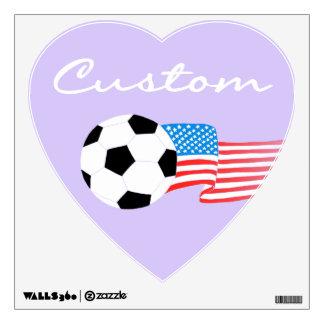 Etiquetas de la pared del fútbol: Púrpura Vinilo Decorativo