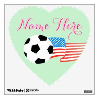 Etiquetas de la pared del fútbol: Verde menta Vinilo Adhesivo