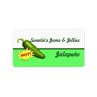 Etiquetas de la pimienta de Jalapeño Etiqueta De Dirección