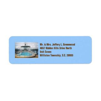 Etiquetas de la piscina del barco de cruceros etiquetas de remite