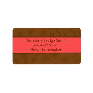 Etiquetas de la salsa de chocolate o de la salsa d etiquetas de dirección