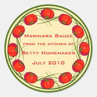 Etiquetas de la salsa de tomate o de la salsa de pegatina redonda