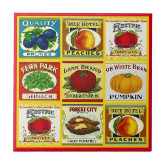 Etiquetas de los alimentos enlatados de la cocina azulejo cuadrado pequeño