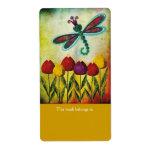 Etiquetas de los Bookplates de la libélula Etiqueta De Envío