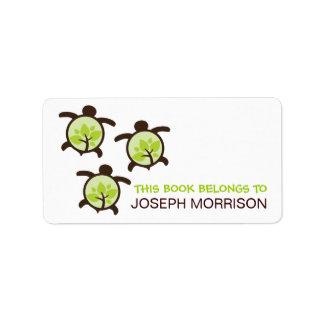 Etiquetas de los Bookplates de las tortugas verdes Etiquetas De Dirección