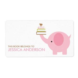 Etiquetas de los Bookplates del elefante rosado Etiquetas De Envío