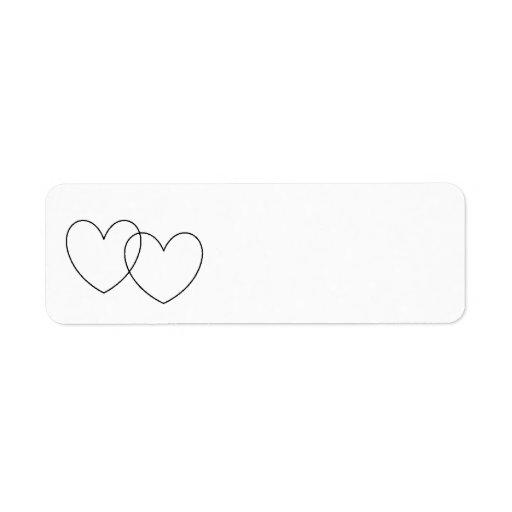 """Etiquetas de los """"corazones que entrelazan"""" etiquetas de remite"""
