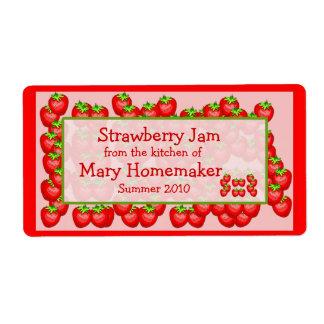 Etiquetas de los cotos de la mermelada de fresa o etiquetas de envío