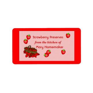 Etiquetas de los cotos de la mermelada de fresa o  etiqueta de dirección