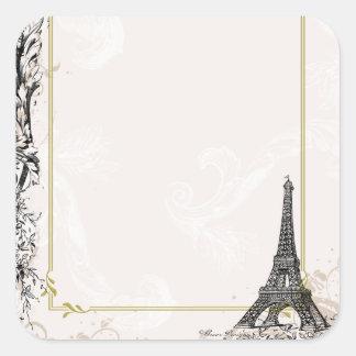 Etiquetas de los pegatinas de la torre Eiffel Calcomanías Cuadradas Personalizadas